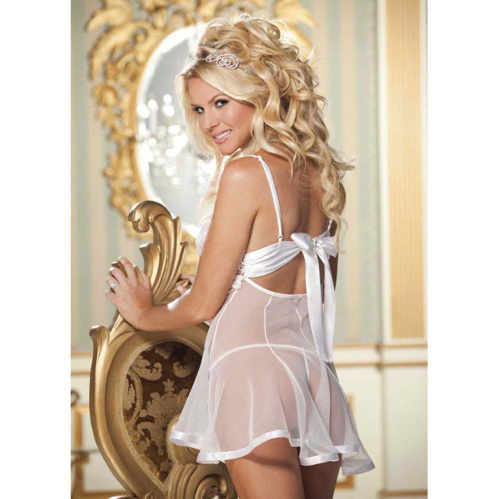 Lace and Net Babydoll and G-String Set Extra Large White - View #4