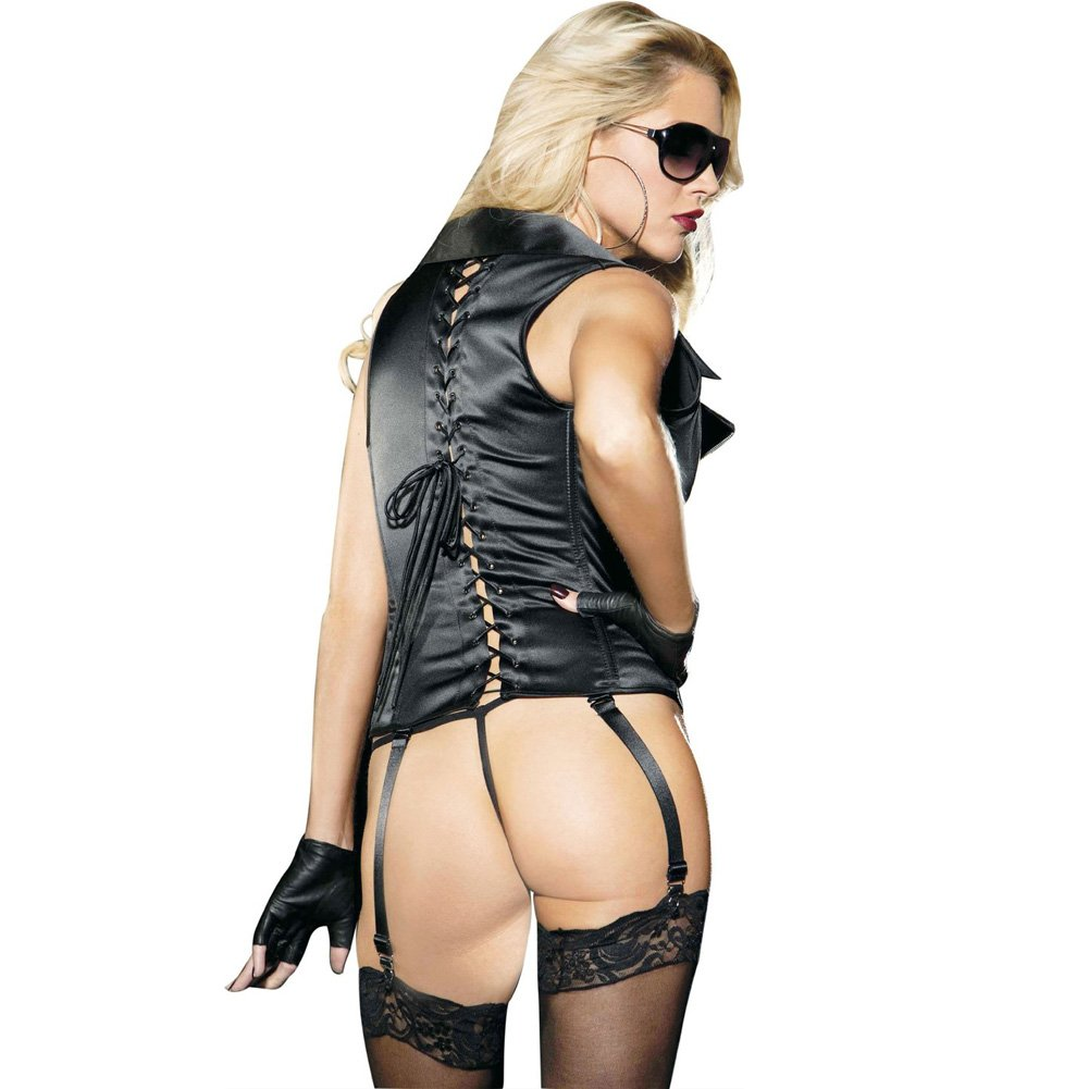 Stretch Satin Zipper Front Corset with Removable Garters and G-String Black 32 - View #2