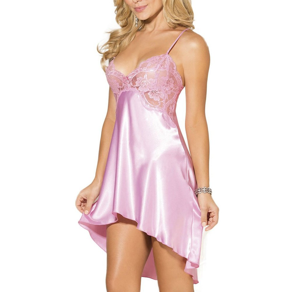 Charmeuse and Lace Chemise with Criss Cross Straps Small Pink Icing - View #1