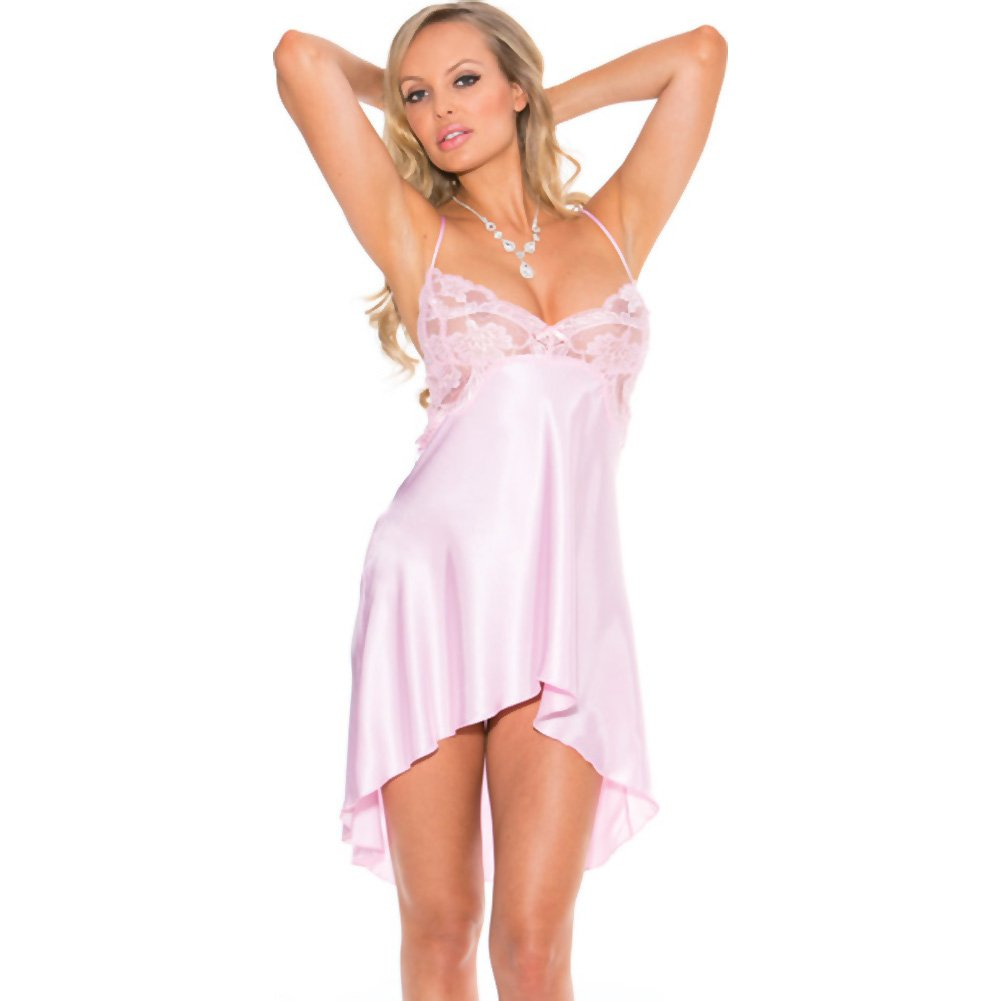 Charmeuse and Lace Chemise with Criss Cross Straps Small Pink Icing - View #3