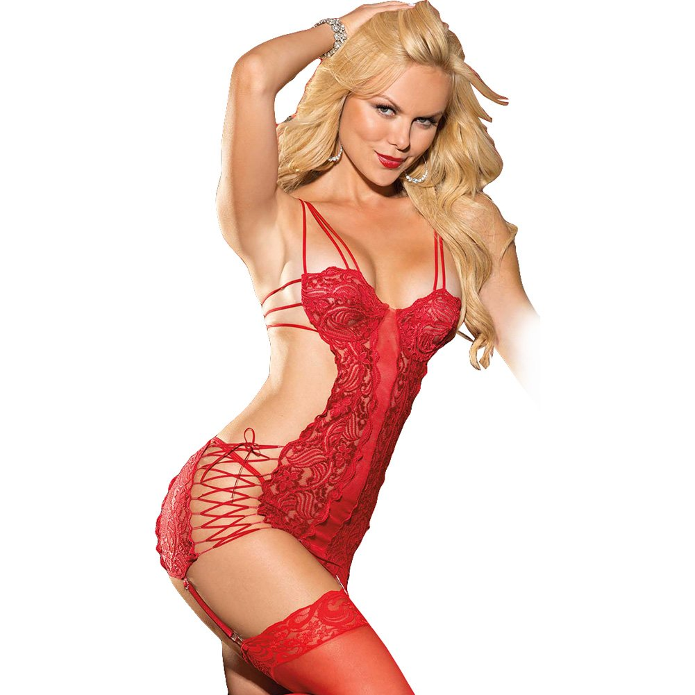 Chopper Lace and Mesh Chemise with Strappy Sides Adjustable Garters and G-String Red Large - View #1