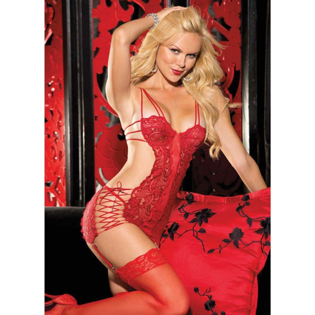 Chopper Lace and Mesh Chemise with Strappy Sides Adjustable Garters and G-String Red Large - View #3