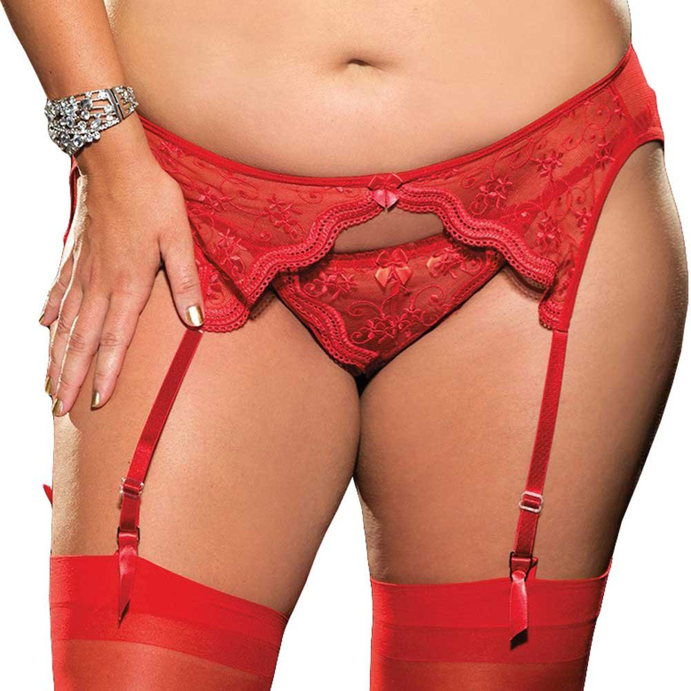 Scalloped Embroidery Garterbelt with Adjustable Front and Back Garters Red 3X 4X - View #1