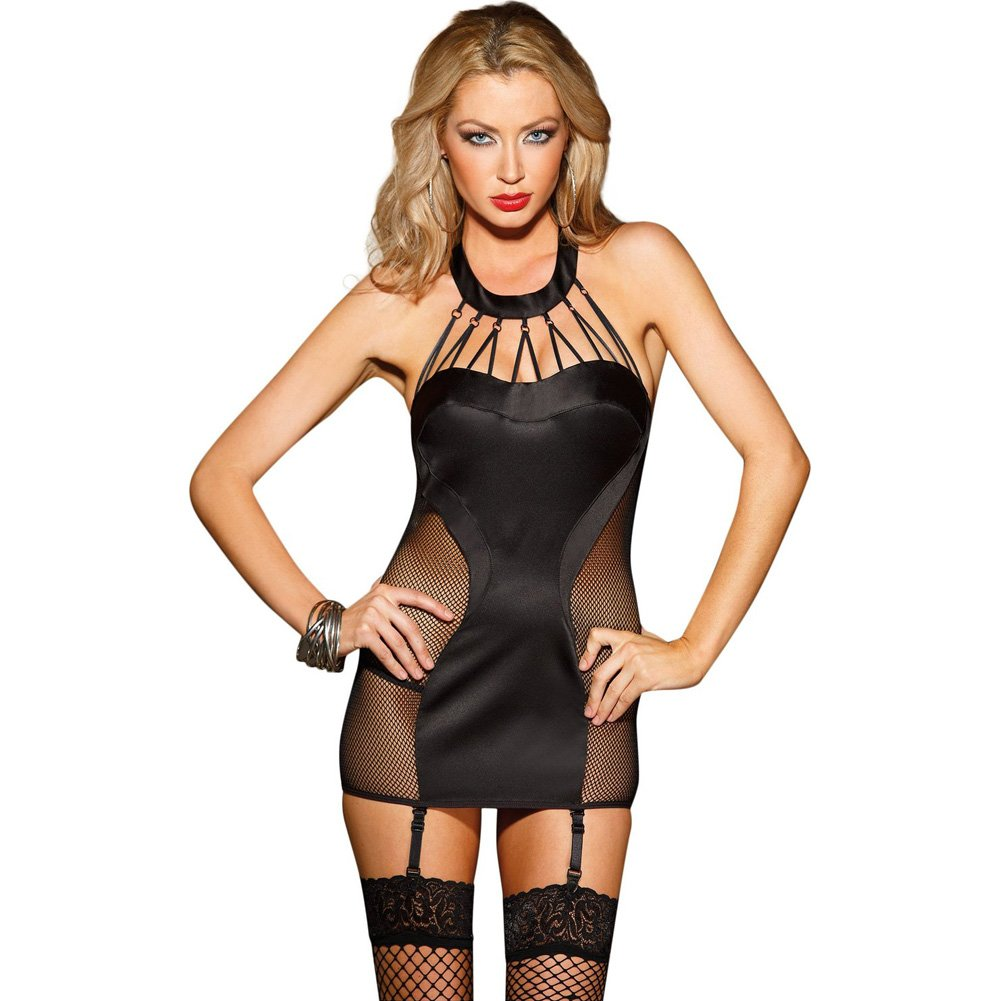 Satin and Fishnet Chemise with Strappy Front Detail Removable Garters and G-String Black Small - View #1