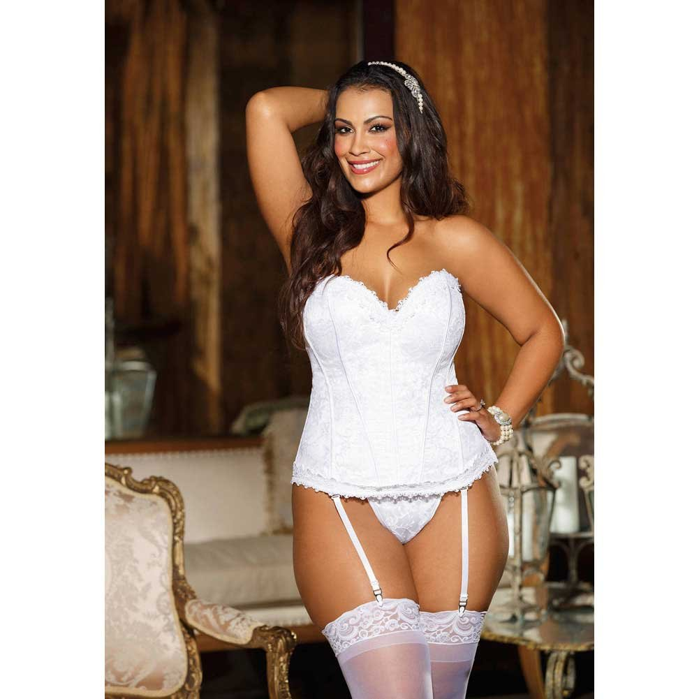 Elegant Venice Lace Trim Embroidered Satin Corset with Garters and G-String Size 40 White - View #2