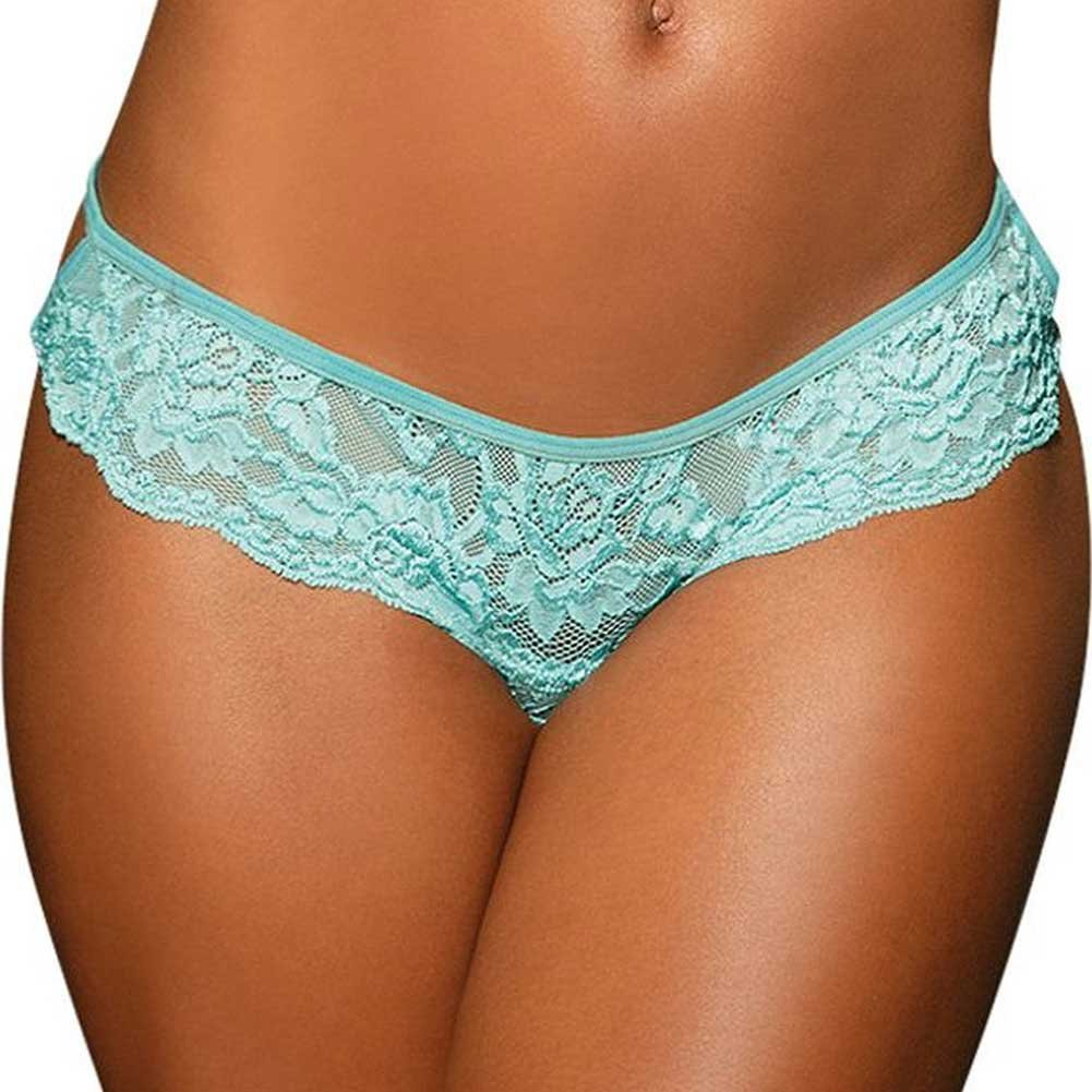 Stretch Lace Strappy Back Thong Panty Medium Spearmint - View #2