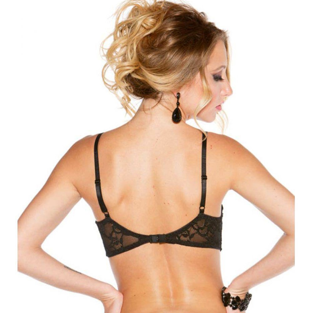 Shirley of Hollywood Stretch Lace Shelf Bra with Wired Demi Cup Size 38 Black - View #2