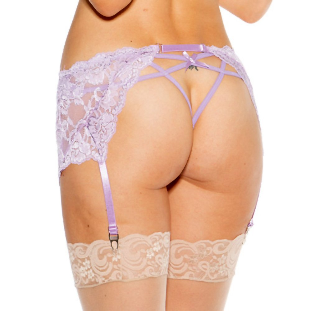 Stretch Lace Garterbelt with Adjustable Front and Back Garters Lilac Small Medium - View #2