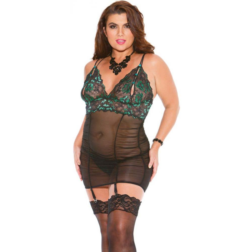 Two Tone Lace Gartered Chemise Rusch Bodice with Adjustable Garters and G-String Emerald Black 1X - View #1