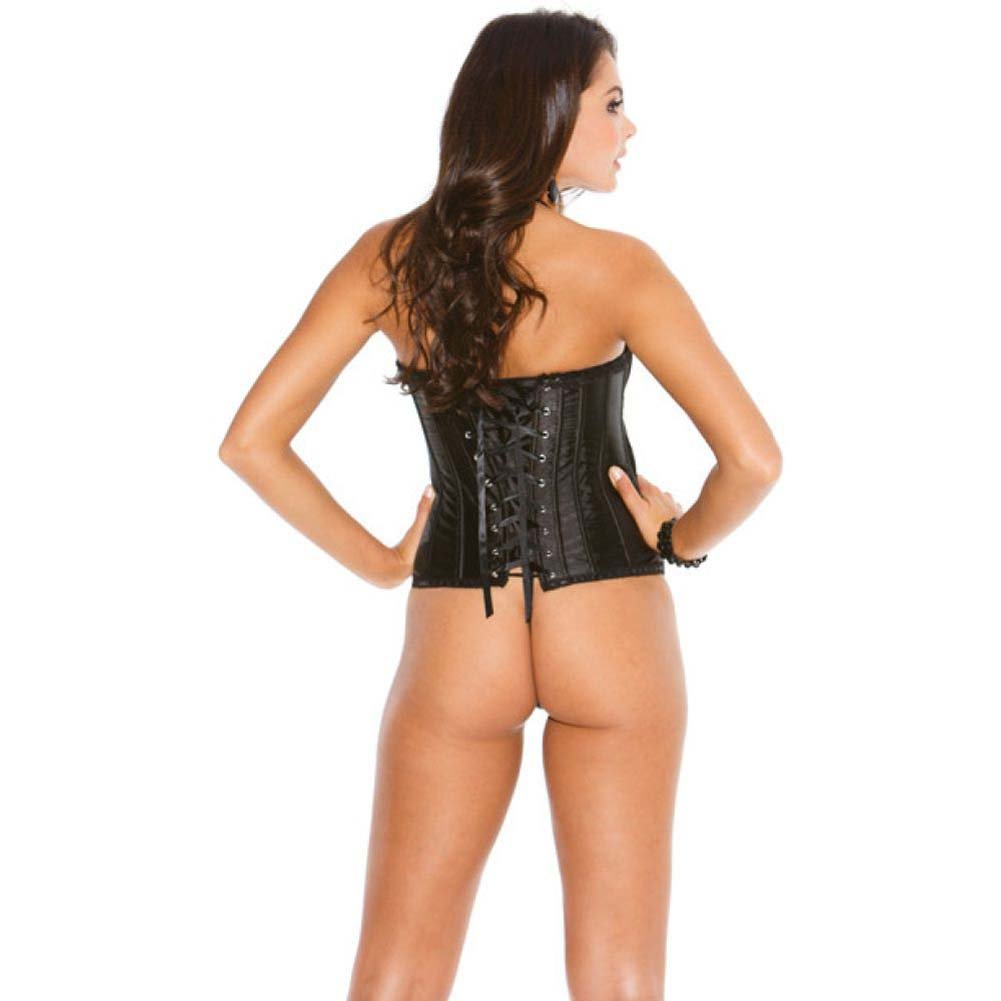 Padded Corset Top with Mesh Pleated Flirty Skirt Design and G-String Black 38 - View #2