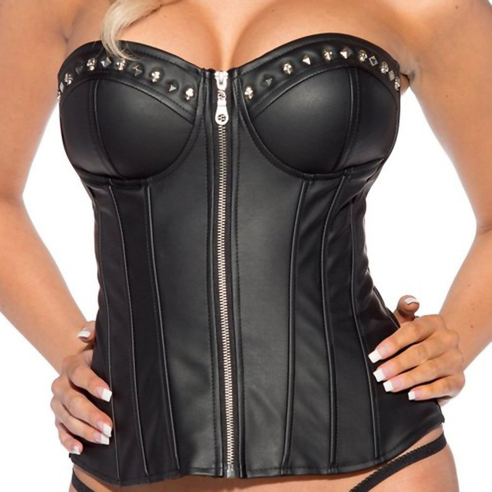 Studded Zipper Front Corset Black Extra Large - View #2