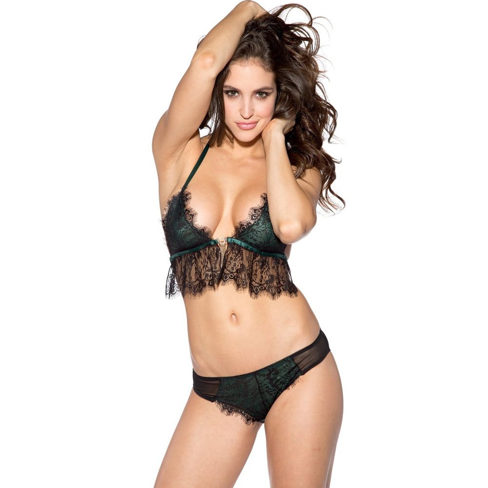 Lace Overlay Bra and Panty Set Black Green Large - View #1