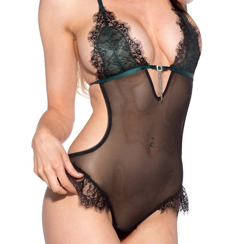 Lace Overlay Teddy Black Green 2X - View #3