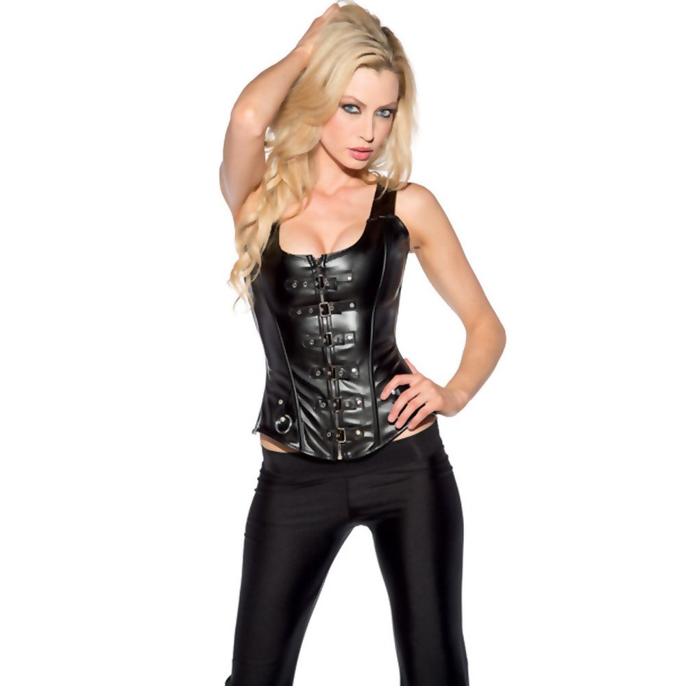 Buckle and Zip Front Corset Black Medium - View #1