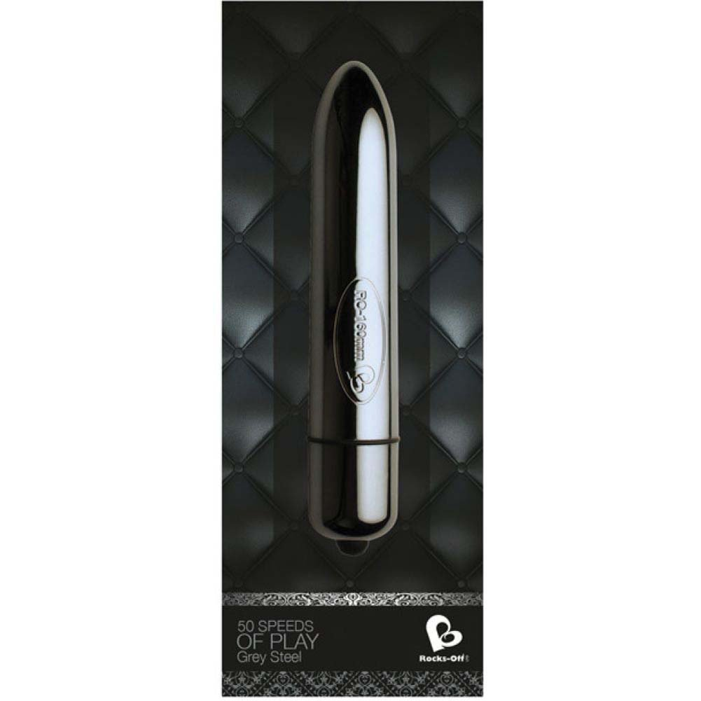 Rocks Off 50 Speeds of Play Grey Steel Bullet Vibrator Silver - View #1