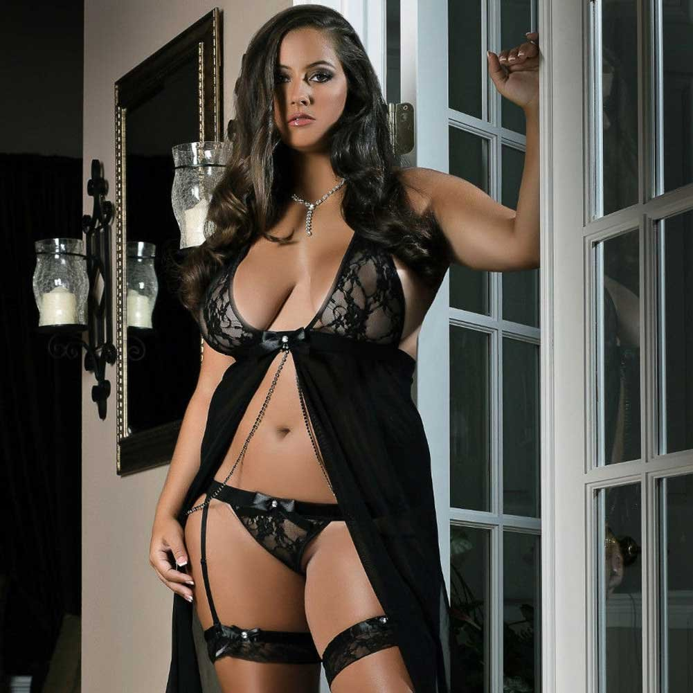 Flyaway Long Dress with Matching Thong and Leg Garters Black 1X 2X - View #3