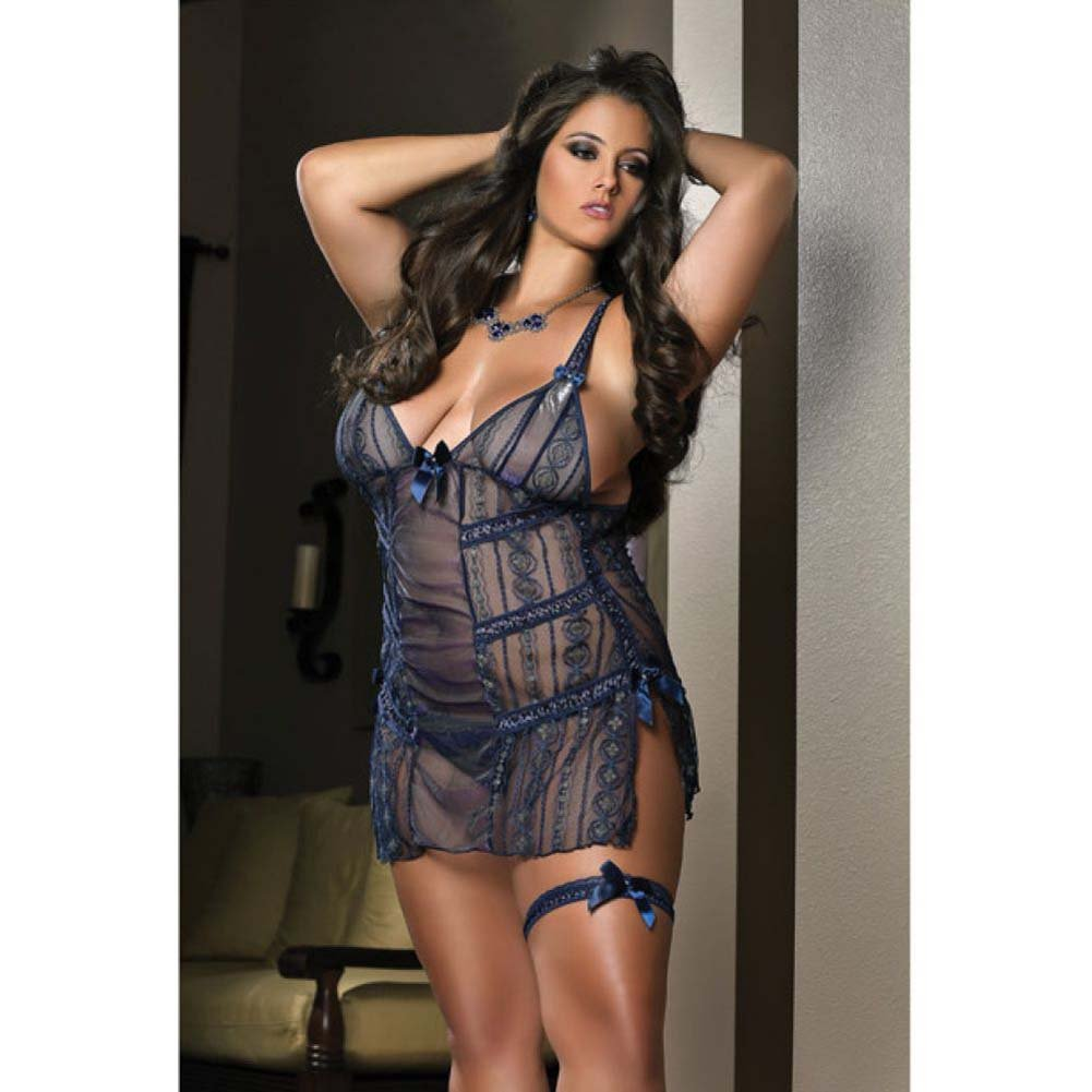 Sheer Laced Mini Dress Leg Garters and Thong Night Blue 1X 2X - View #1