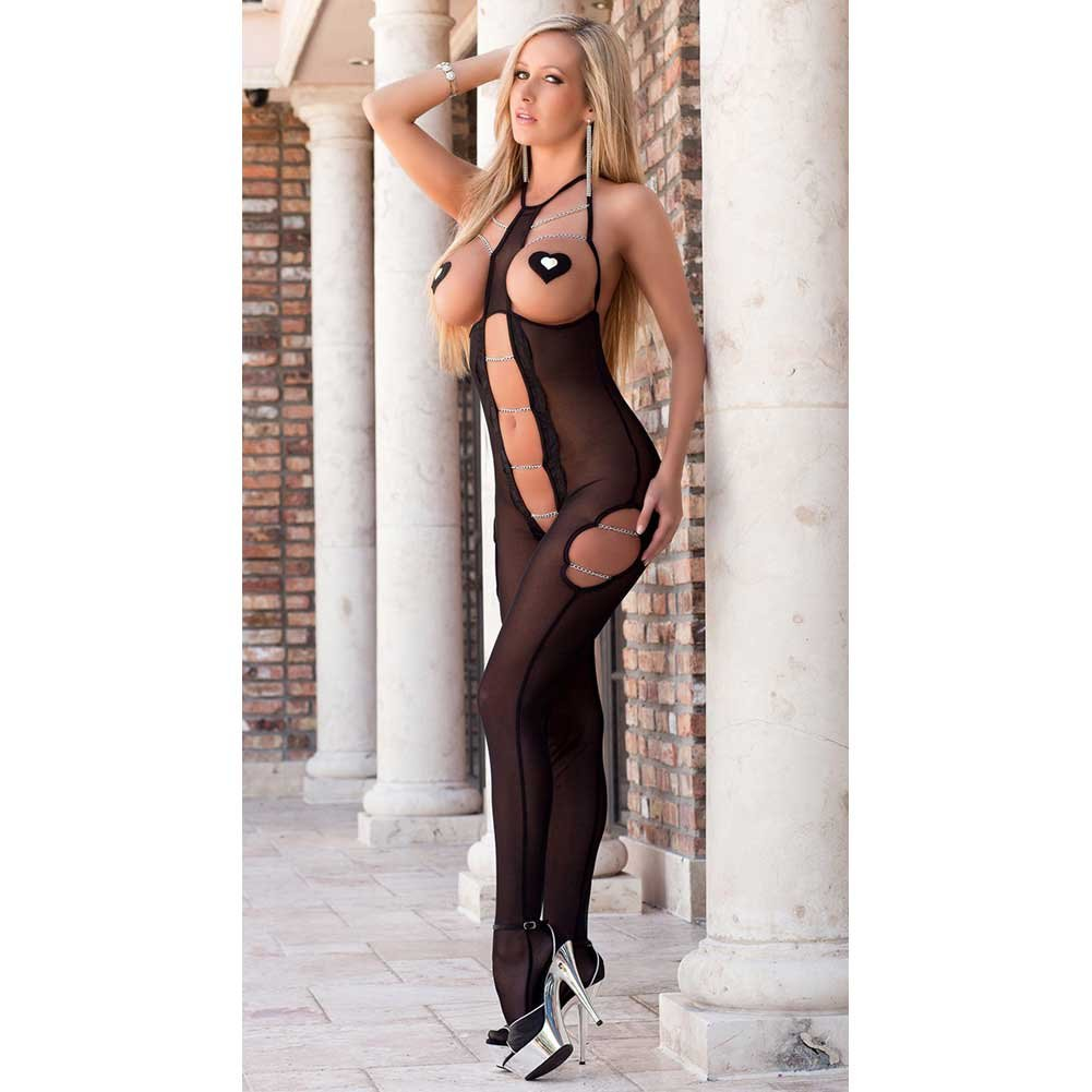 Xrated One Piece Open Cupped Bodystocking with Pasties Black One Size - View #1