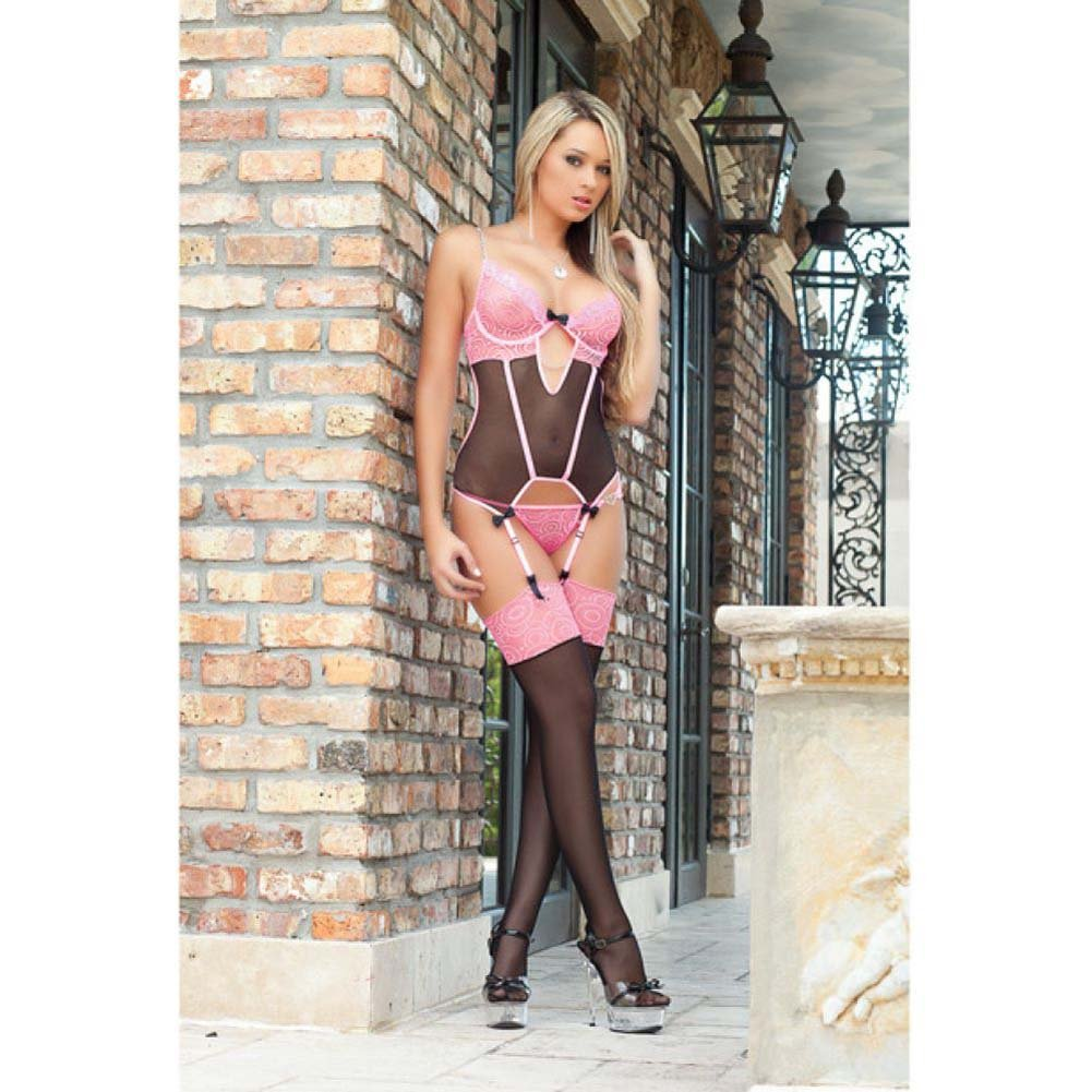 Sweet Valentine Corset with Wired Cups and Stockings Brilliant Pink One Size - View #1