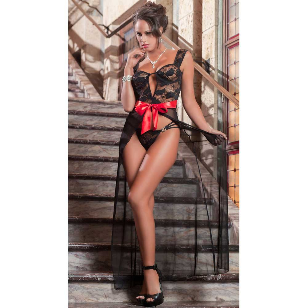 Parisien Lady Gown with Wired Cups and Thong Black One Size - View #1