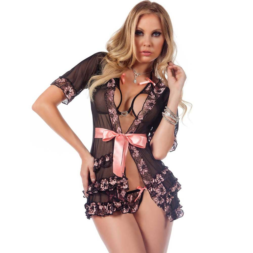 Sheer Robe with Open Cup Bra and Open Crotch Thong Pink Quartz One Size - View #1
