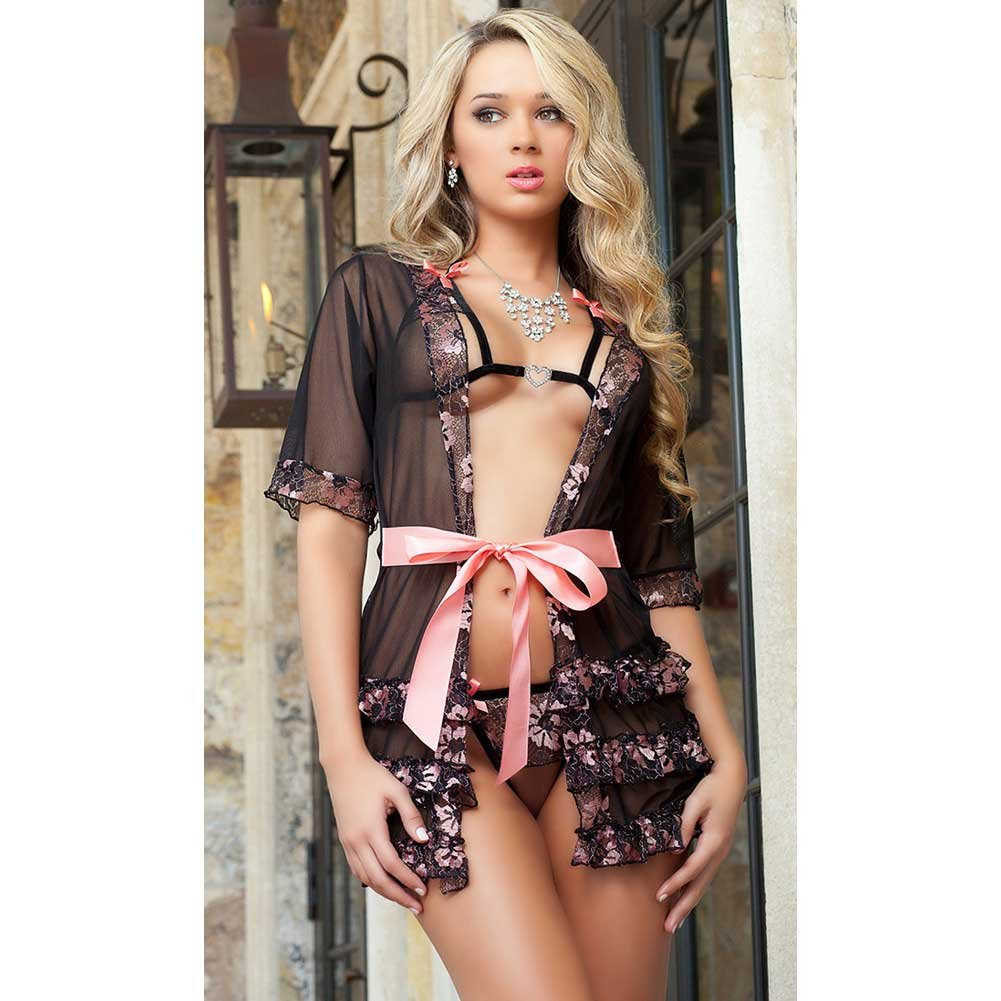 Sheer Robe with Open Cup Bra and Open Crotch Thong Pink Quartz One Size - View #3