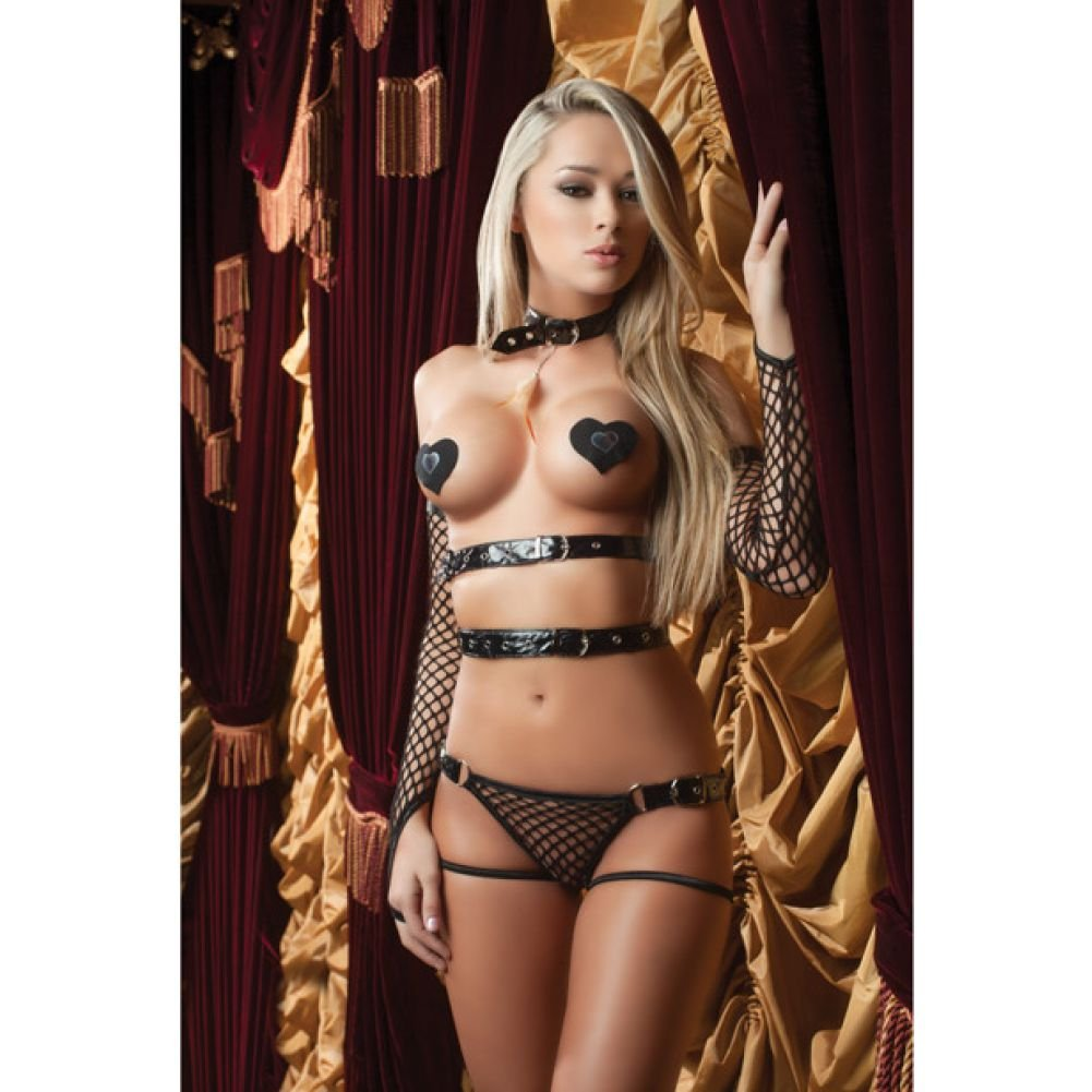 Xrated One Piece Vinyl Teddy with Adjustable Straps Tickle Feather Gloves and .. - View #1