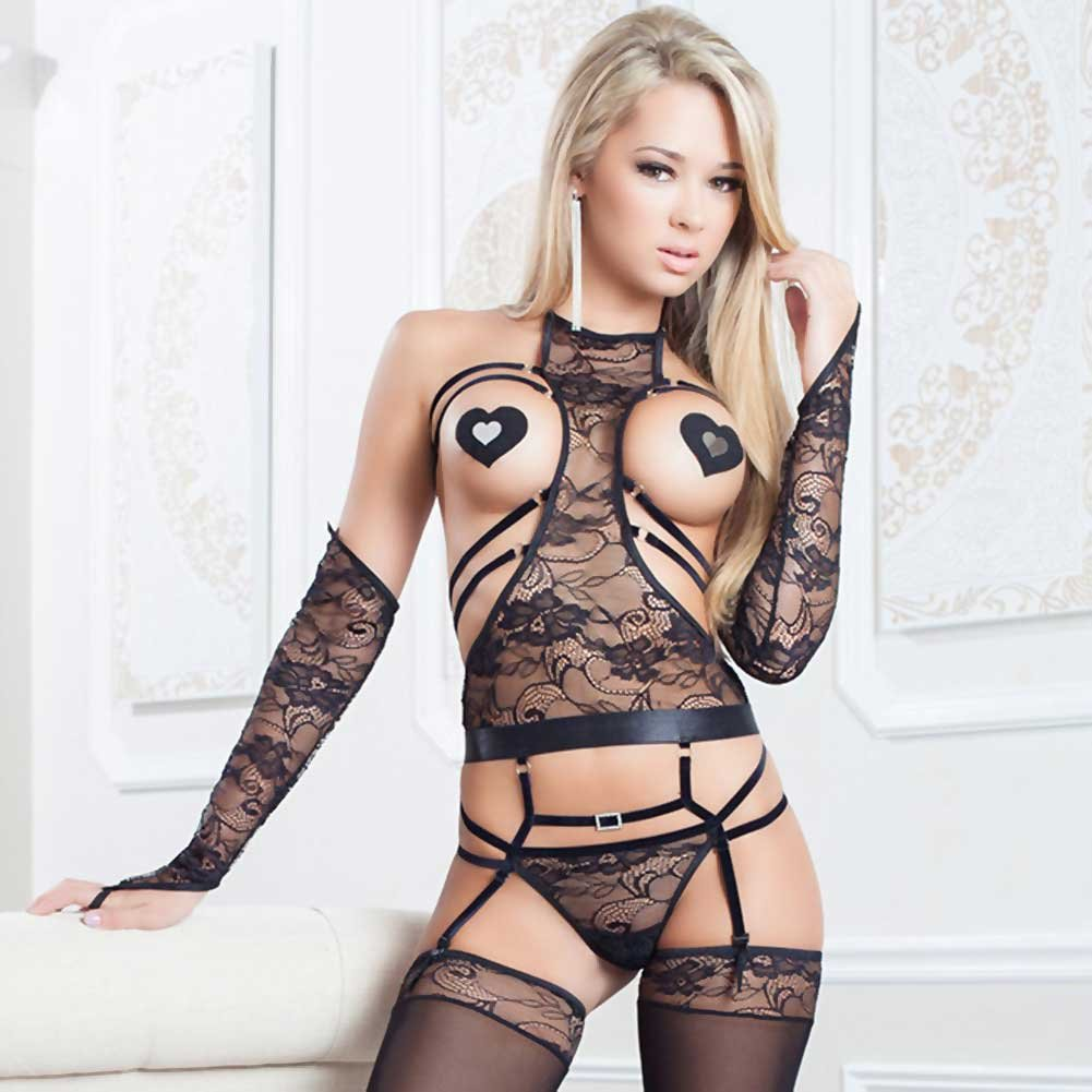 Xrated Strappy Jacquard Lace Teddy with Adjustable Straps Gloves Stockings And.. - View #3