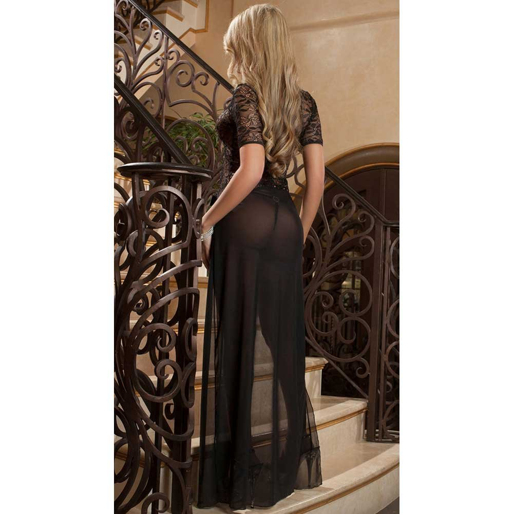 Sheer and Lace Gown with Double Front Slit with Straps and Thong Black One Size - View #2