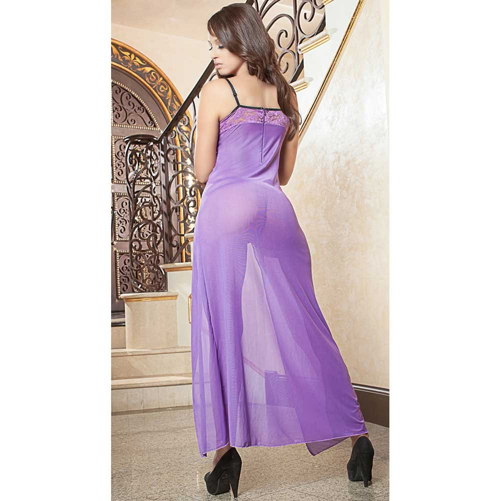 Sheer and Lace Gown with Wired Cups and Thong Orchid One Size - View #2
