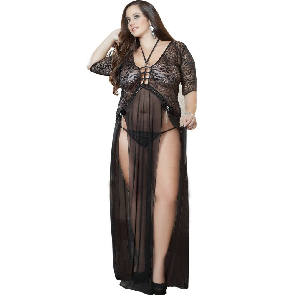 Sheer and Lace Gown with Double Front Slit with Straps and Thong Black 1X 2X - View #1
