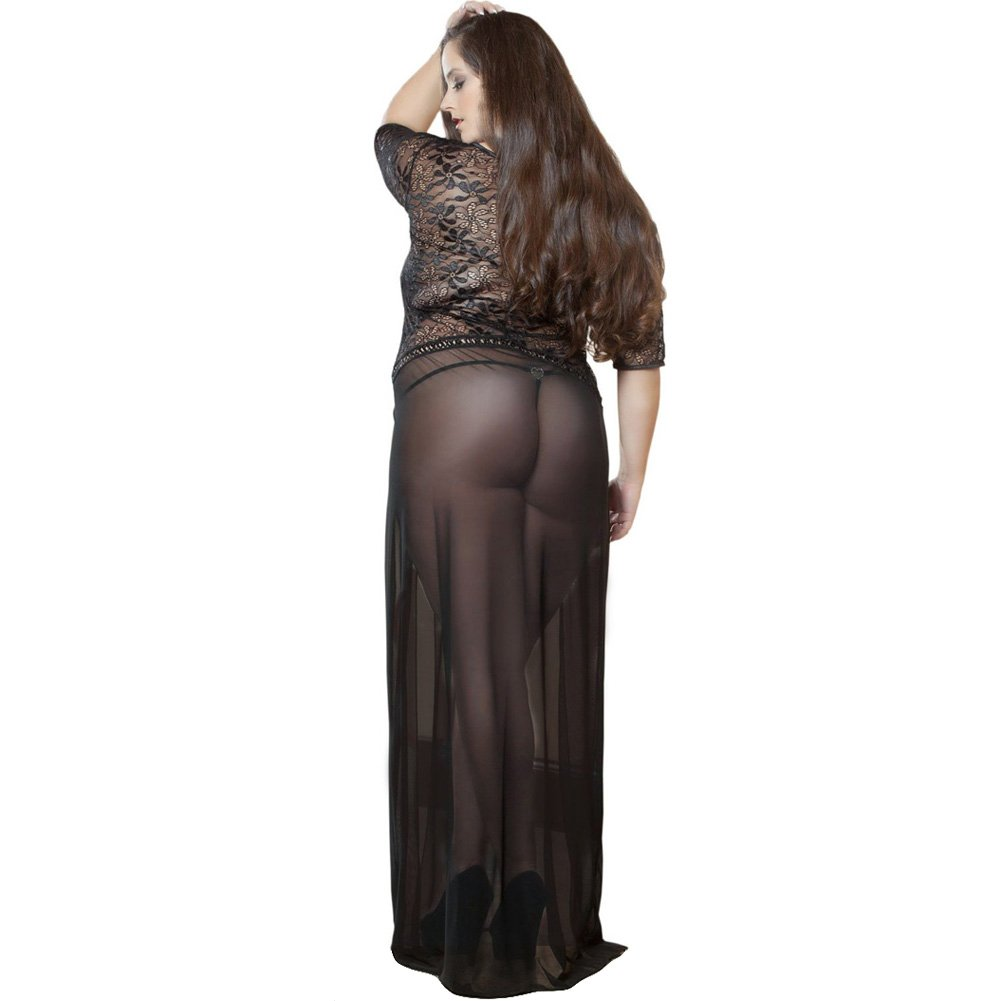 Sheer and Lace Gown with Double Front Slit with Straps and Thong Black 3X 4X - View #2