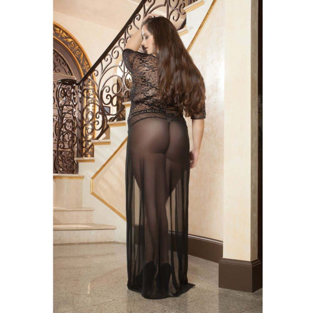 Sheer and Lace Gown with Double Front Slit with Straps and Thong Black 3X 4X - View #4