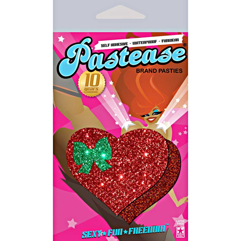 G World Glitter Tease Heart and Bow Pasties Sexy Wear One Size Christmas Red/Green - View #1