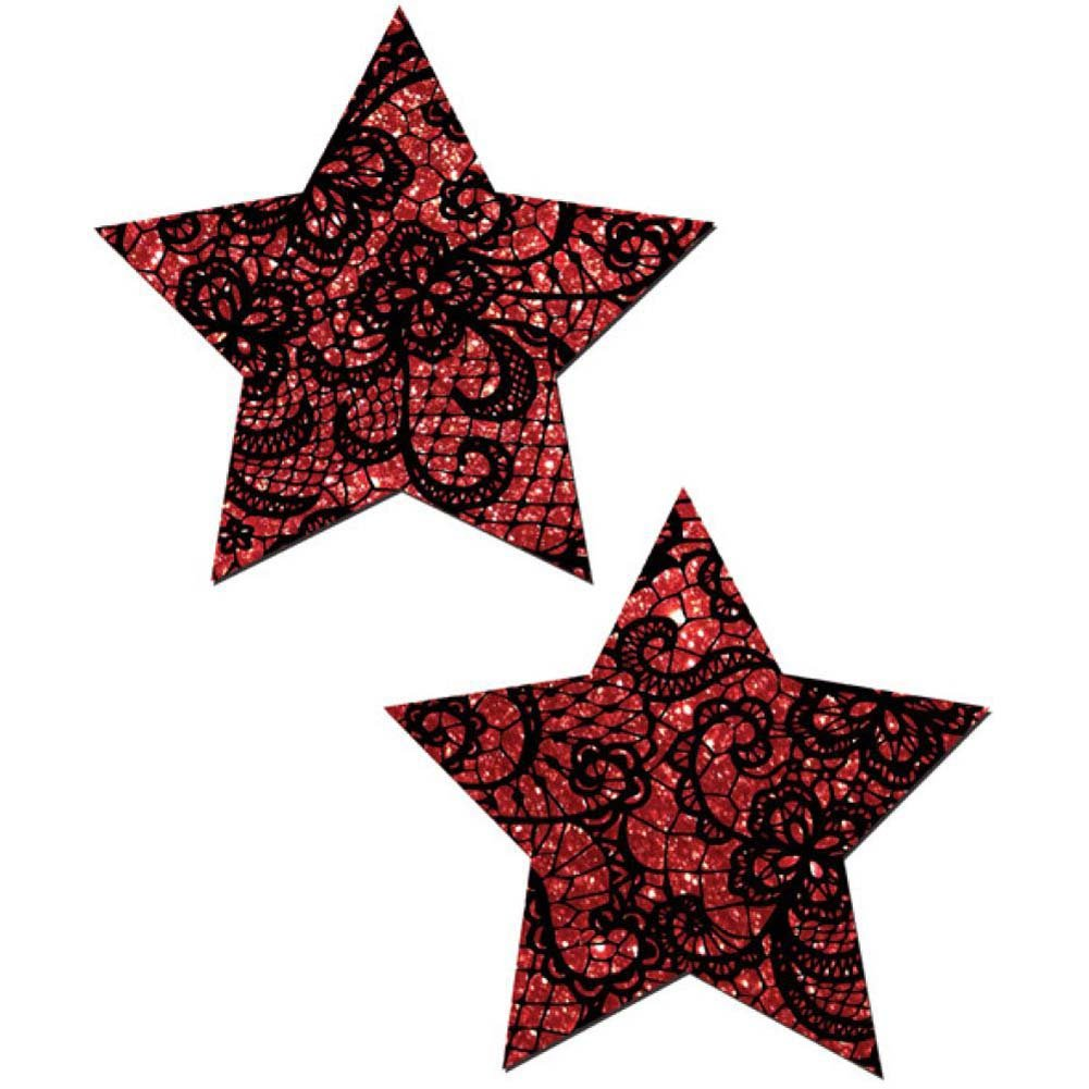 Tease Red Lace Print Star One Size - View #2