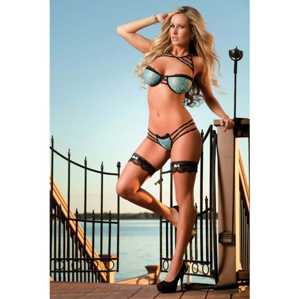 Lacy Underwired Bra and Strappy Thong Set with Leg Garters One Size Azure - View #3