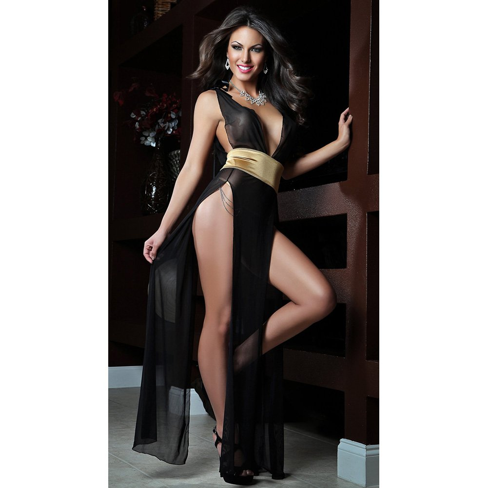 Deep V Neckline High Slit Sides Open Back Gown and Lace Thong Black Gold One Size - View #1