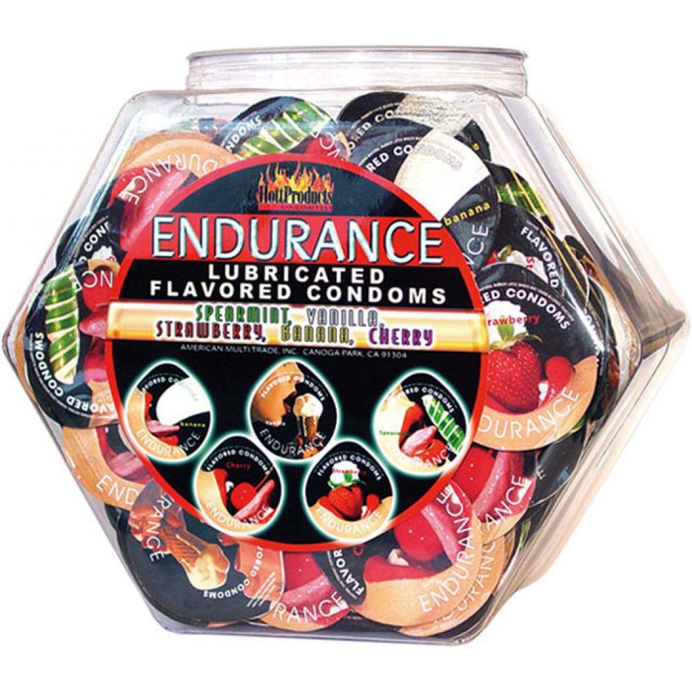 Hott Products Endurance Assorted Flavored Condoms 144 Piece Display - View #1