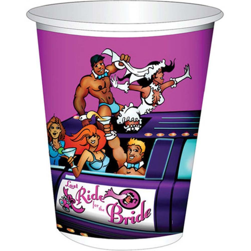 Last Ride for the Bride Limo 12 Ounce Cups Pack of 10 - View #1