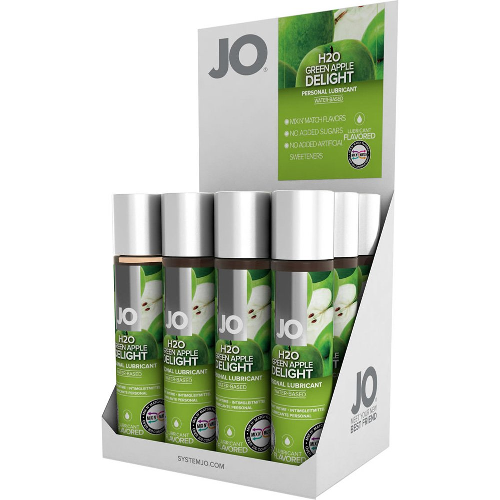 System JO H2O Green Apple Flavored Lubricant 1 Fl.Oz 30 mL Bottles 12 Piece Display - View #2