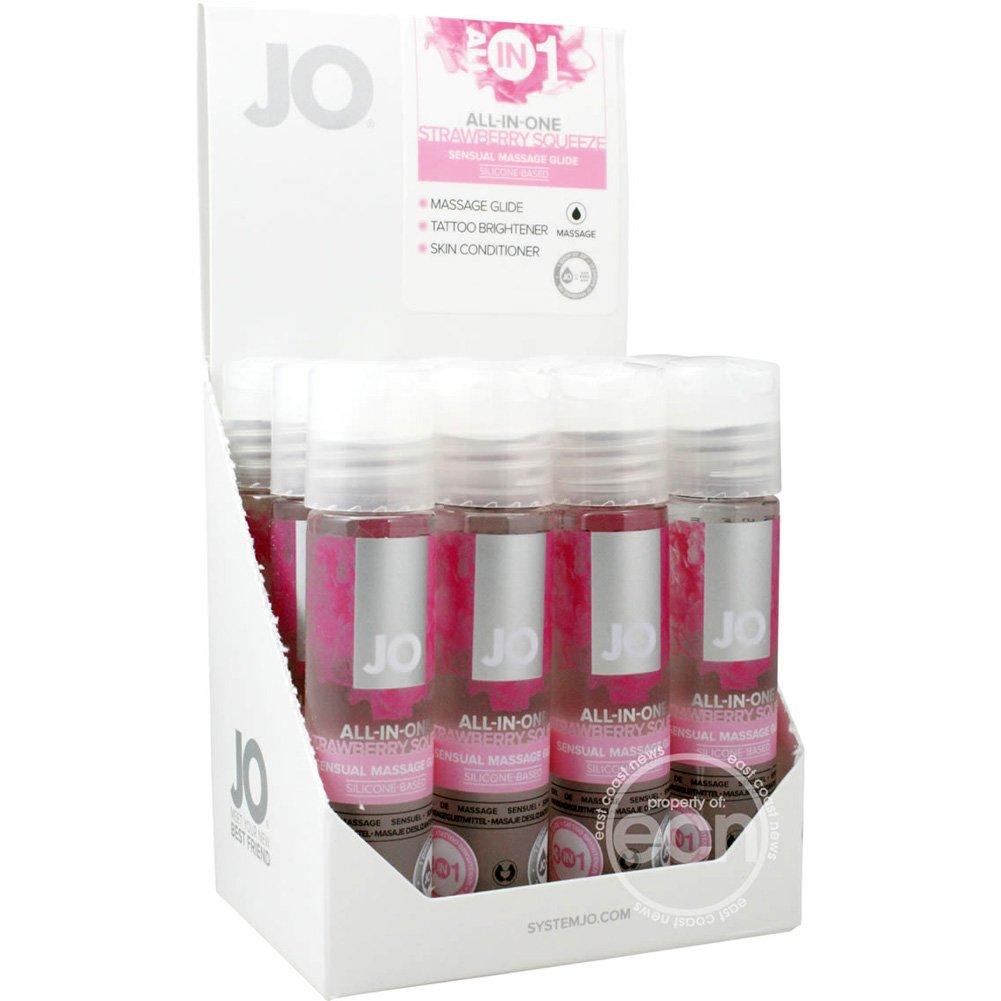 System JO Strawberry Flavored Massage Glide 1 Fl.Oz 30 mL Bottles 12 Piece Display - View #2