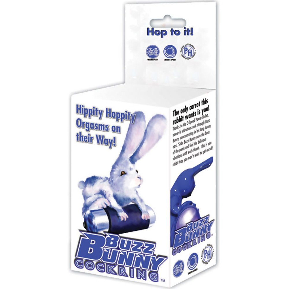 BMS Buzz Bunny Waterproof Vibrator Cock Ring Blue - View #4