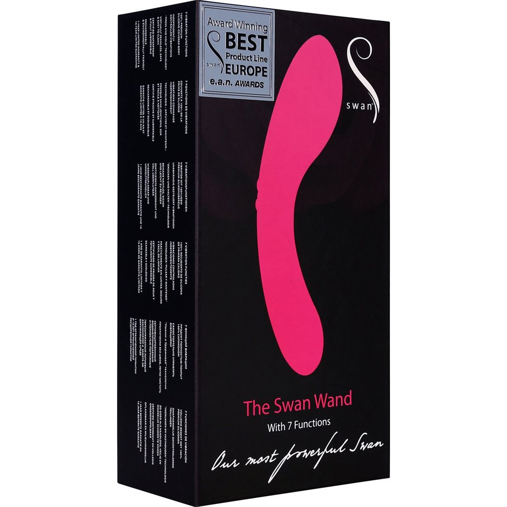 "BMS Rechargeable Swan Vibrating Massage Wand 9"" Pink - View #4"