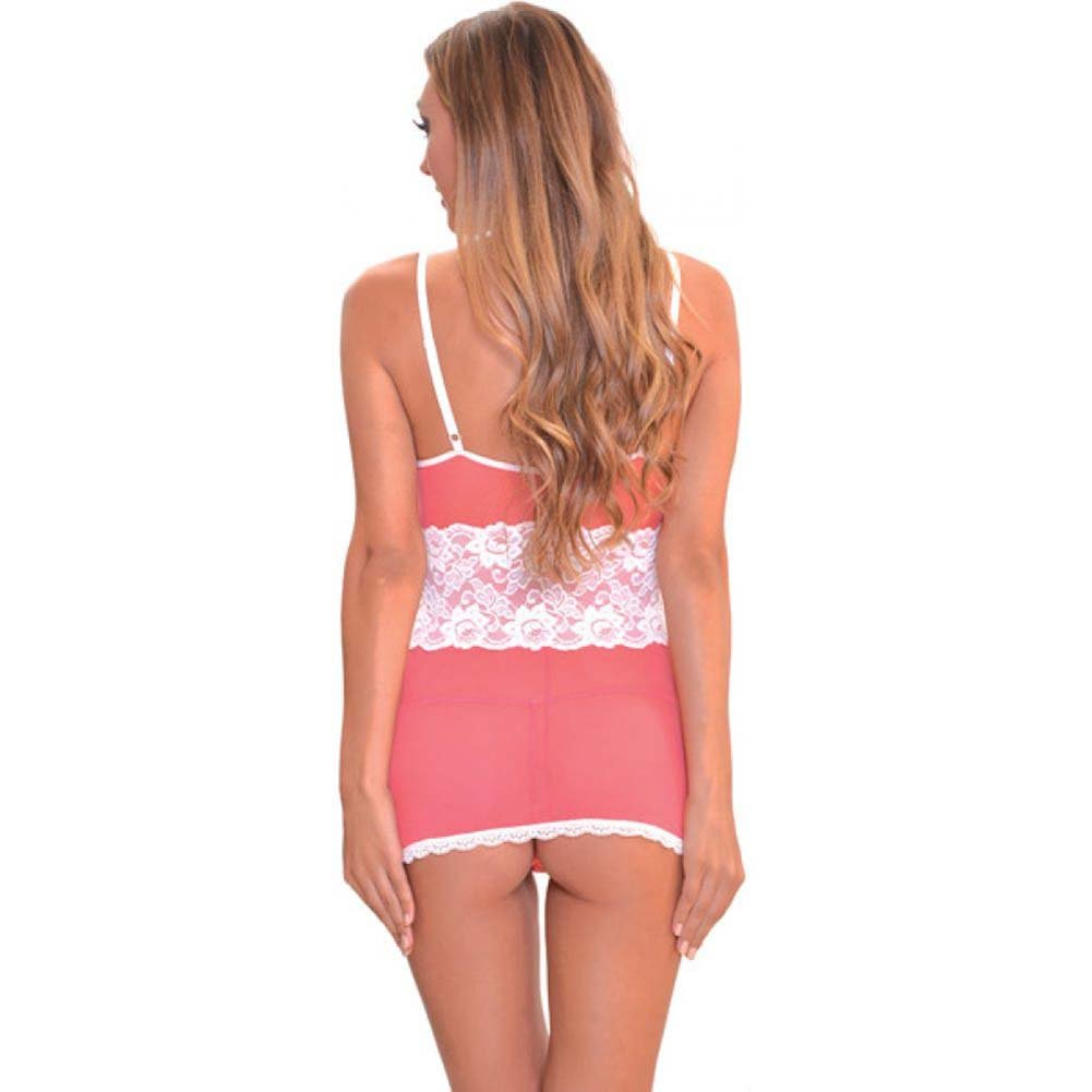 Popsi Lace Babydoll with Panty Small Strawberry/ Coral Pink - View #2