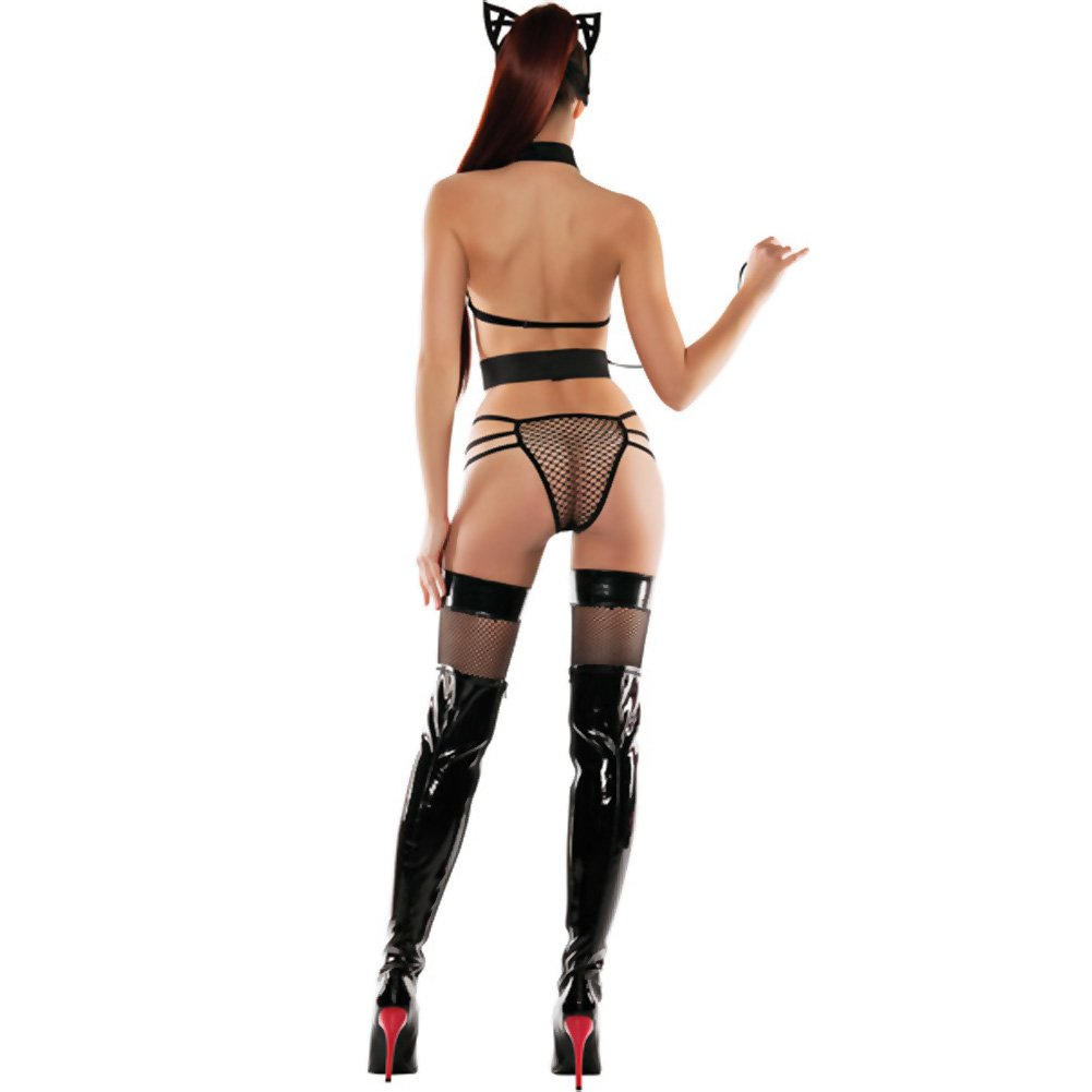 StarLine Mesh Roleplay Kitty Lingerie 3 Piece Set with Cat Ears and Mask Medium/Large Black - View #4