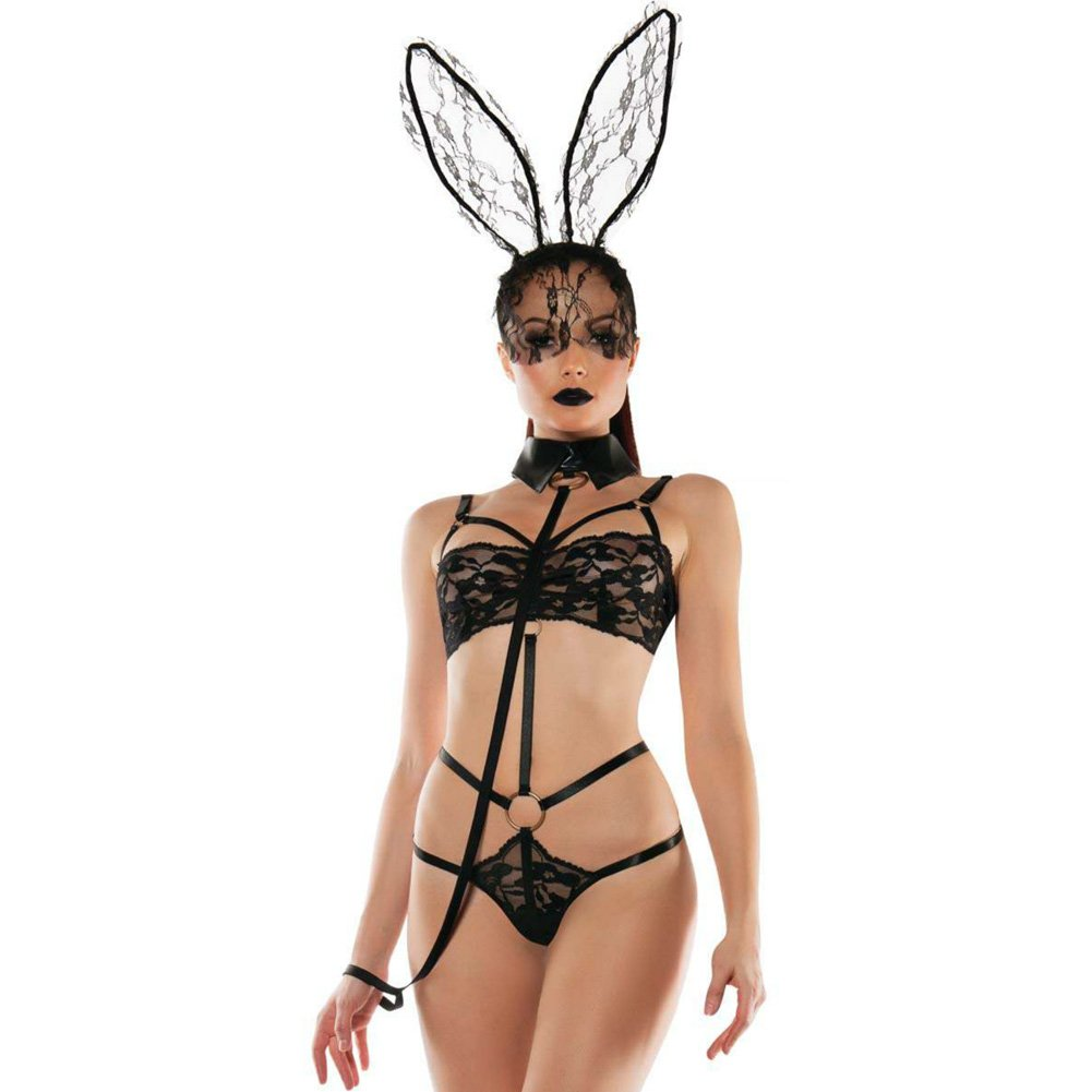 Roleplay Bunny Lace Playsuit with Collared Leash Black Small Medium - View #1