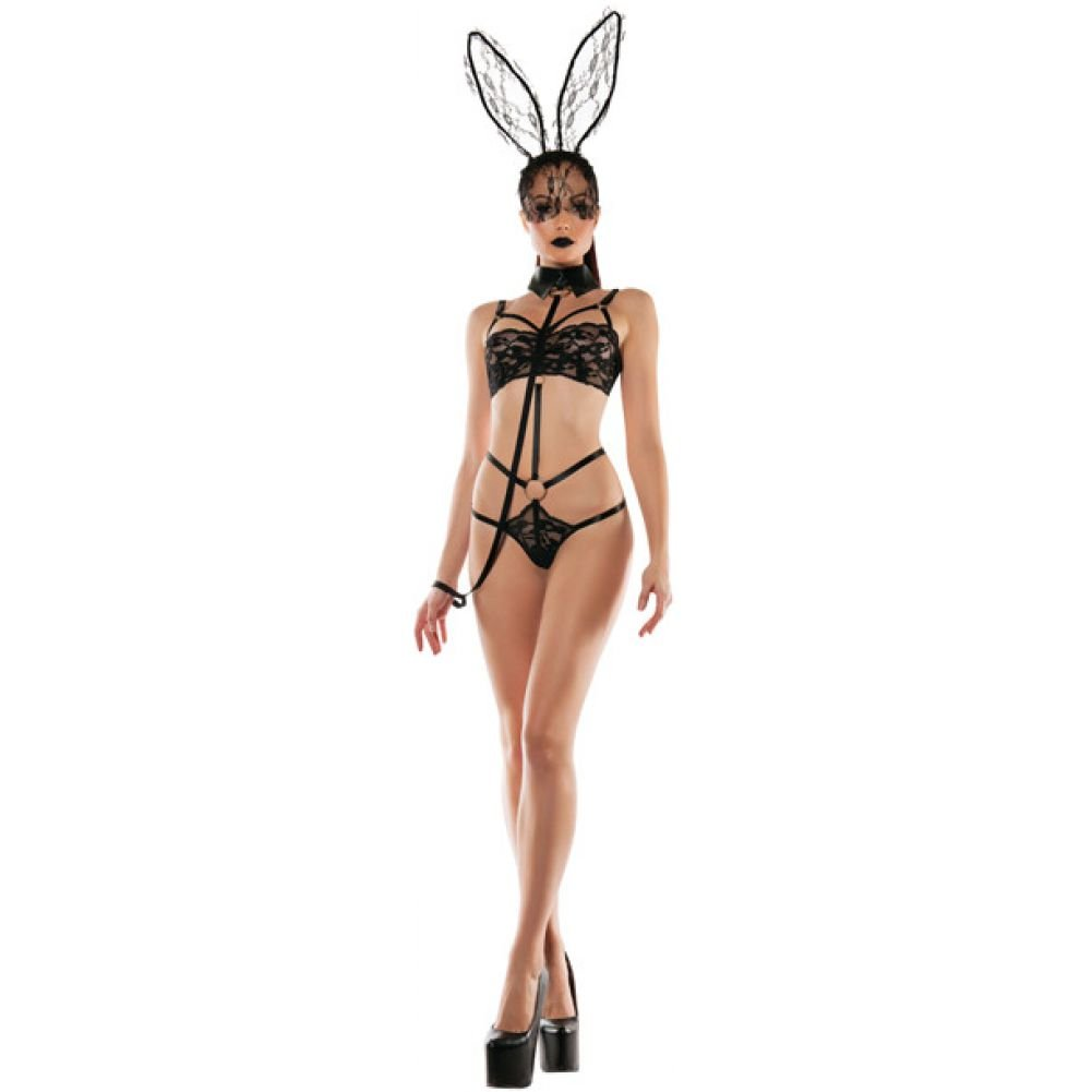 Roleplay Bunny Lace Playsuit with Collared Leash Black Small Medium - View #3