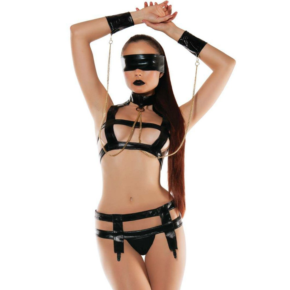 Roleplay Faux Leather Bndage Top with Attched Collr Chaind Wrst Cuffs and Garter.. - View #1