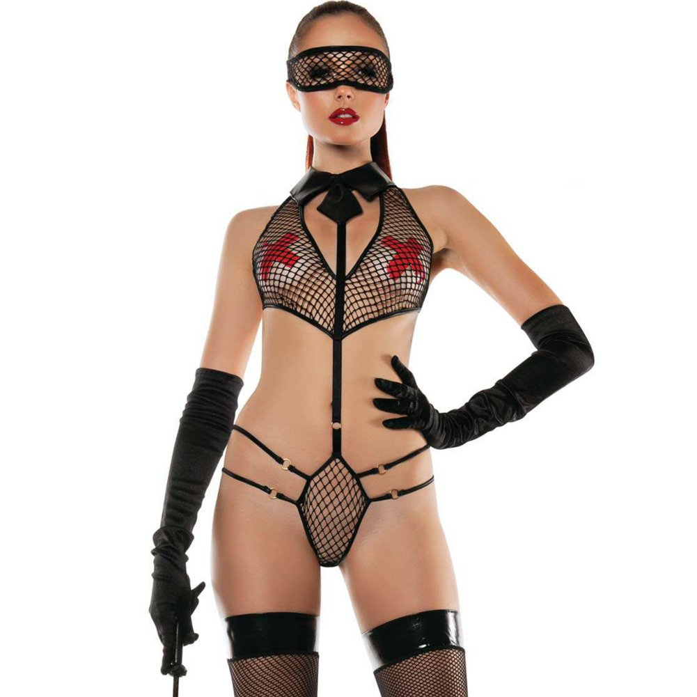 Roleplay Collared Mesh Playsuit with Mask Medium/Large Black - View #1