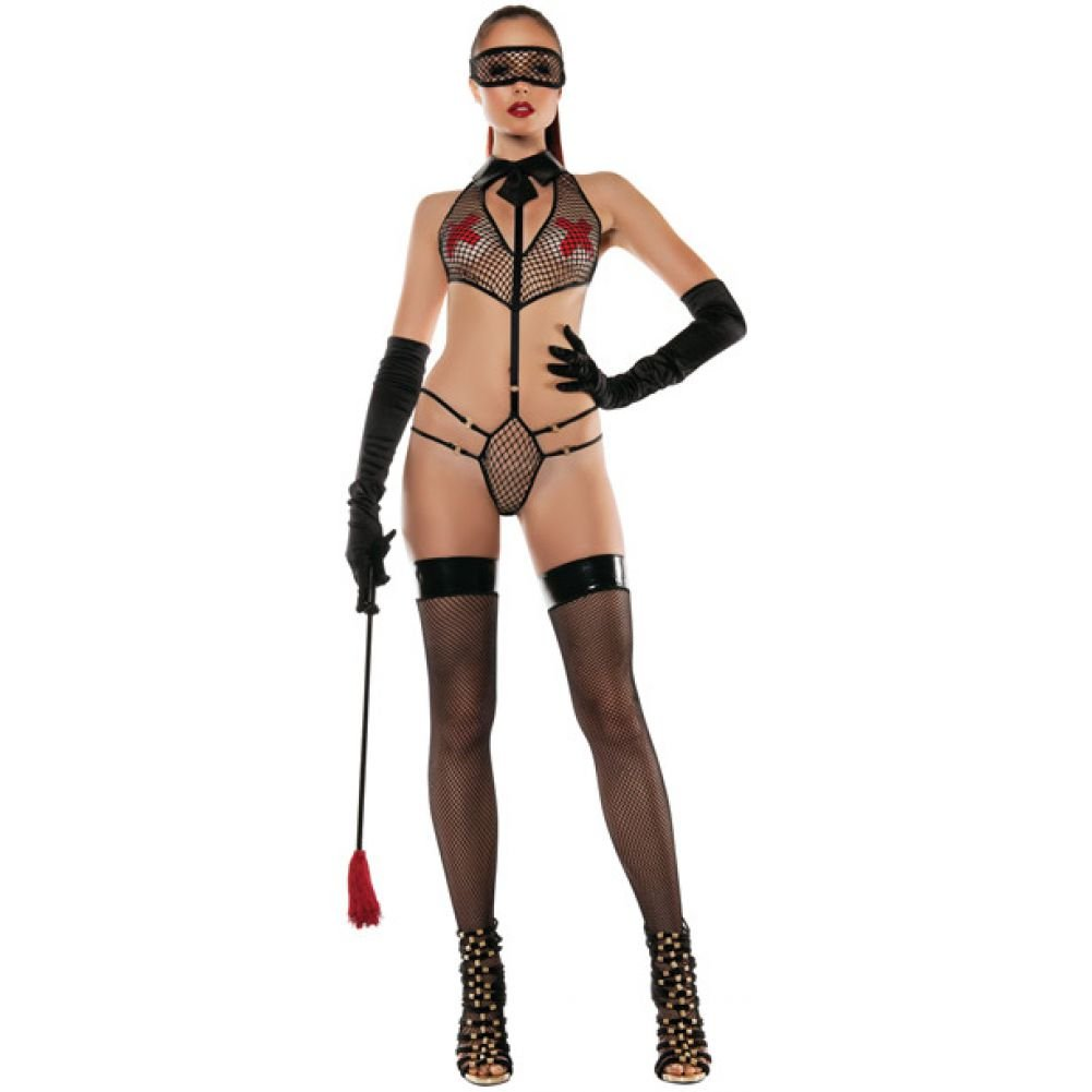 Roleplay Collared Mesh Playsuit with Mask Medium/Large Black - View #3